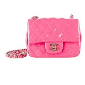 Chanel classic mini square flap in magenta